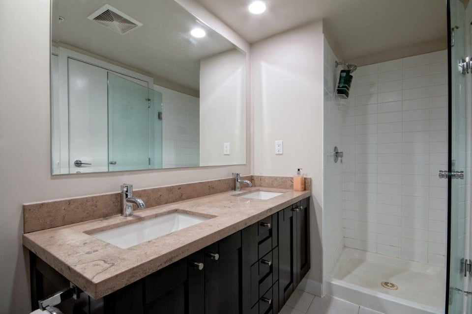 Full stand up shower and separate soaker tub